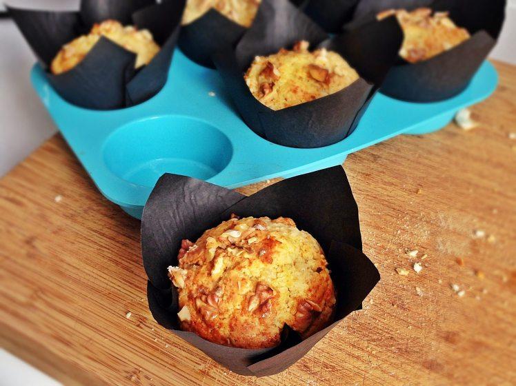 Muffins de melocotón queso y nueces