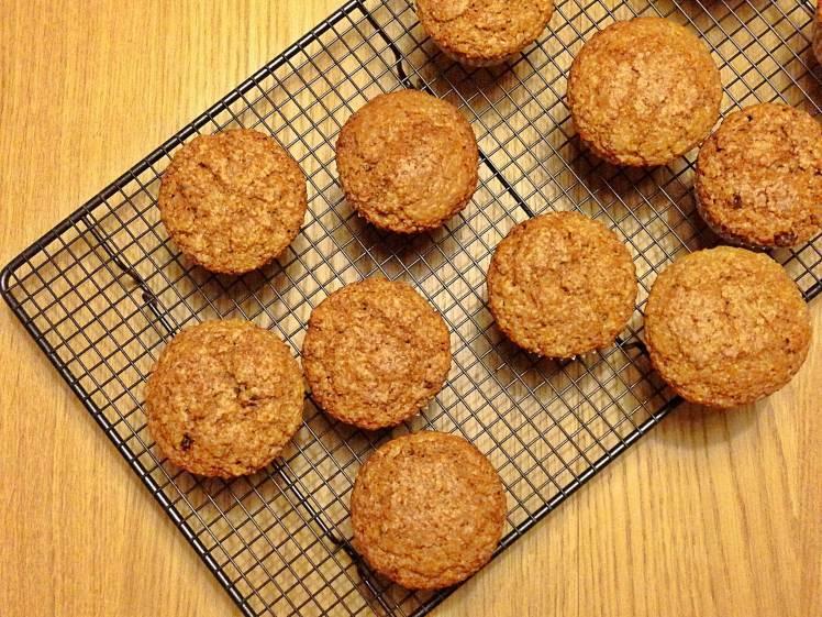 Muffins de avena zanahoria y pasas