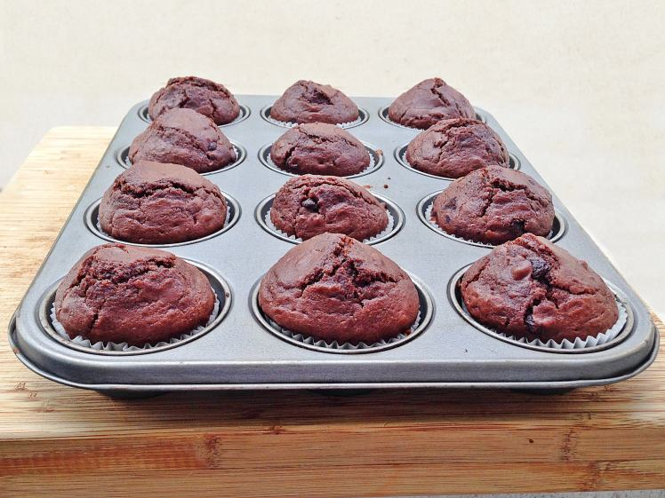 FitMuffins de chocolate con chocolate