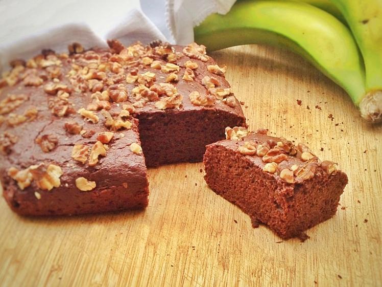 Bizcocho vegano de chocolate y plátano 3