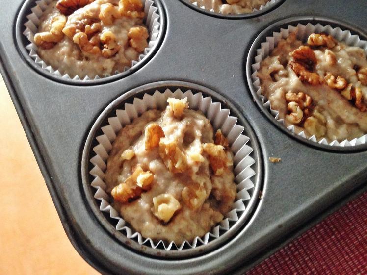 Fitmuffins de avena platano y nueces 1