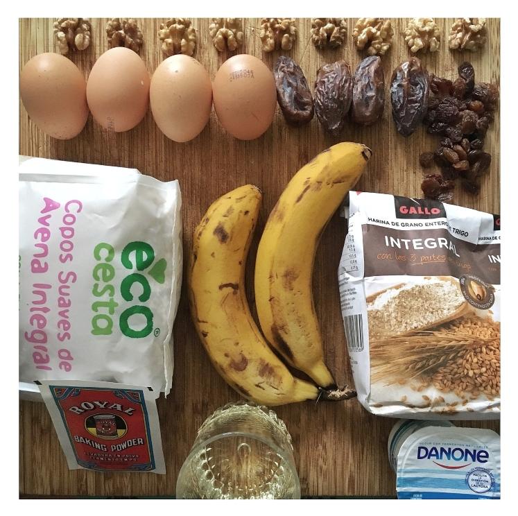 Bizcocho integral de plátano sin azúcar- Ingredientes